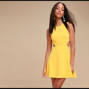 Lulu's yellow cut out cocktail dress